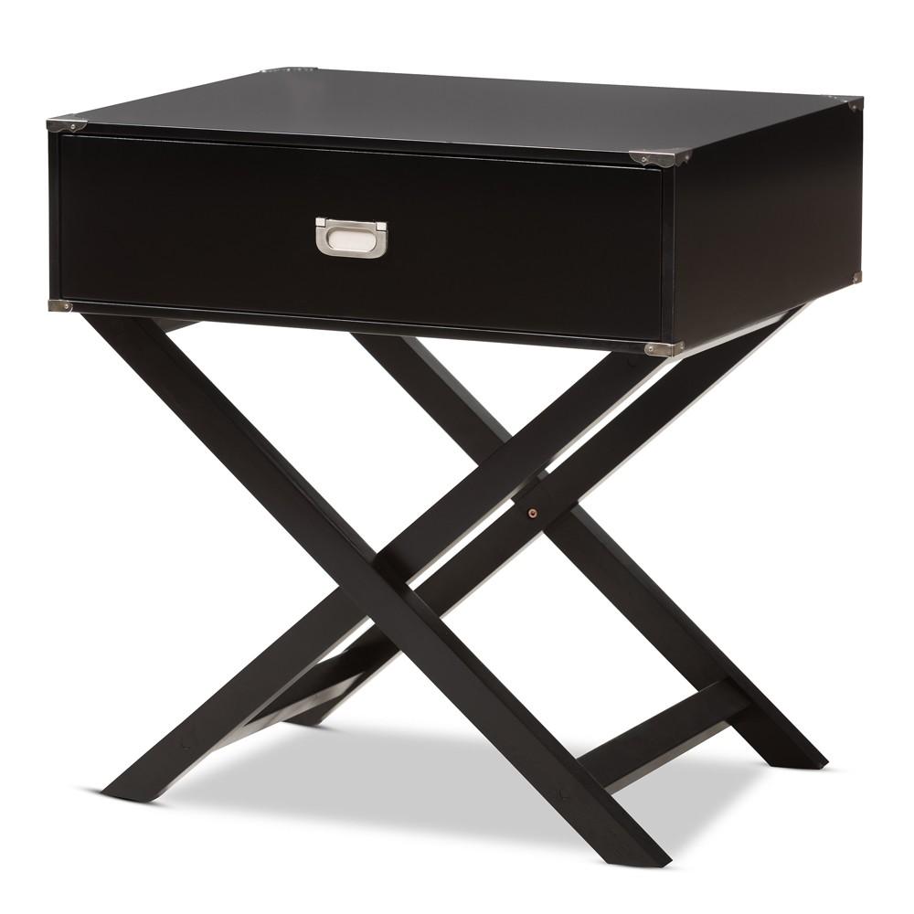 Curtice 1 Drawer Wooden Nightstand Black - Baxton Studio