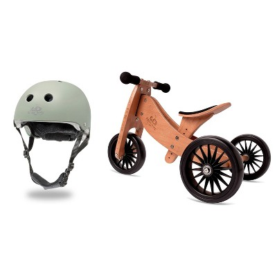 Kinderfeets Sage Green Adjustable Toddler and Kids Bike Helmet Bundle with Kinderfeets Brown Tiny Tot PLUS 2-in-1 Balance Trike Tricycle