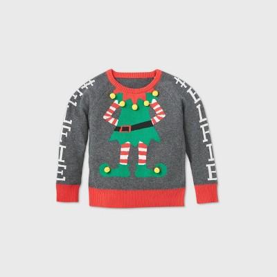 Toddler Girls' Elfie Ugly Christmas Sweater Gray 12M