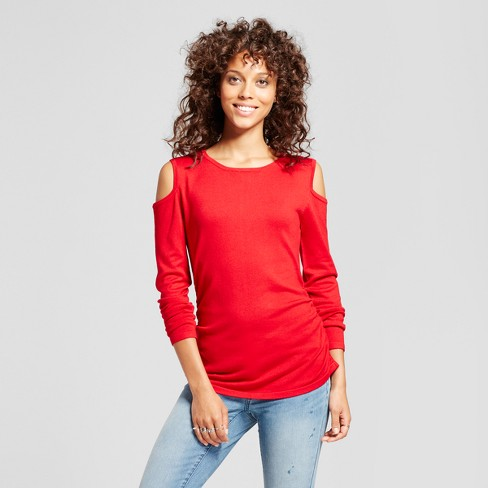 Women's Cold Shoulder Side Ruched Top - Alison Andrews® Red - image 1 of 2