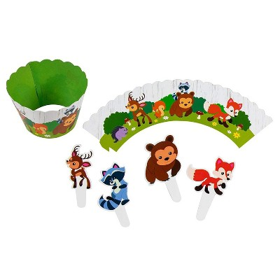 Blue Panda 102-Piece Woodland Animal Safari Cupcake Toppers Picks & Wrapper Liners Birthday Party Supplies