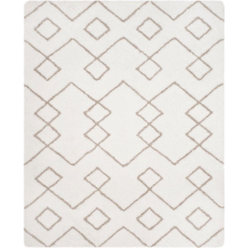 5'X8' Tribal Design Tufted Area Rug Ivory/Silver - Safavieh, White