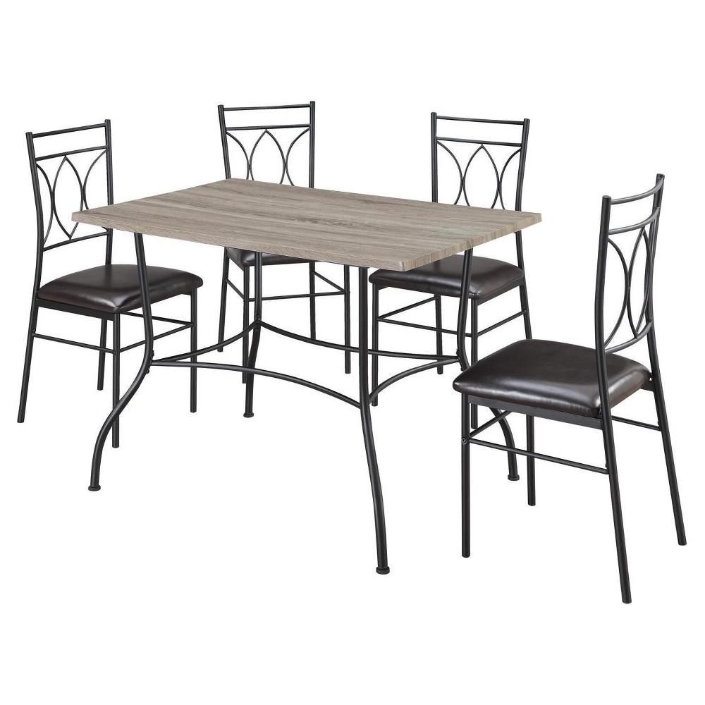 Shelby 5 Piece Rustic Wood & Metal Dining Set - Rustic/Black - Dorel Living, Gray