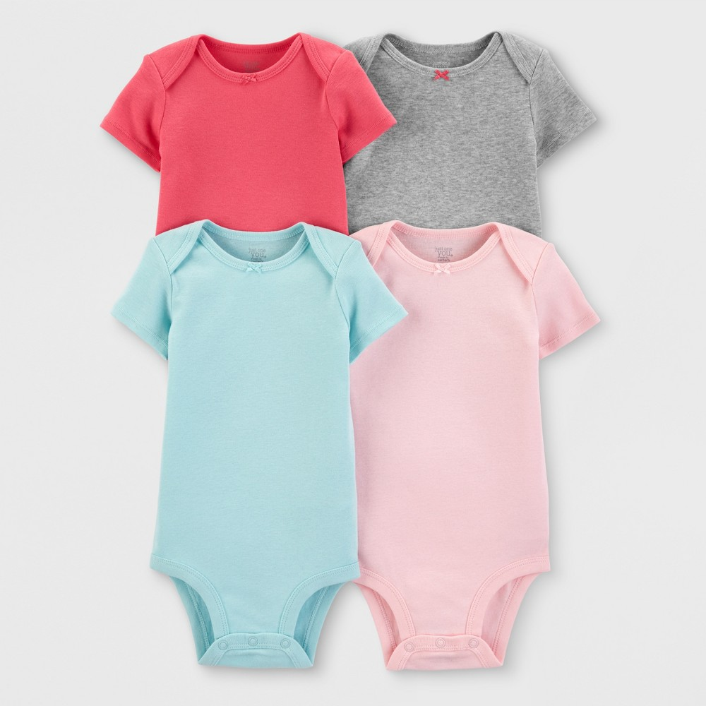 Baby Girls' 4pk Bodysuits - Just One You made by carter's 9M, Pink