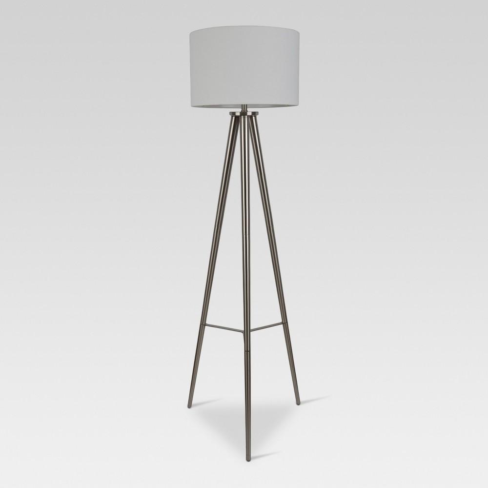 Image of Delavan Metal Tripod Floor Lamp Nickel Includes Energy Efficient Light Bulb - Project 62