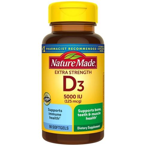 Nature Made Extra Strength Vitamin D3 5000 IU (125 mcg) Softgels - image 1 of 4