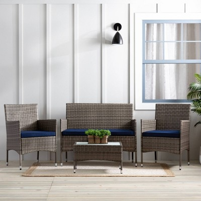 Iris 4pc Rattan Outdoor Seating Set with Patio Table - Navy/Gray - Brookside Home