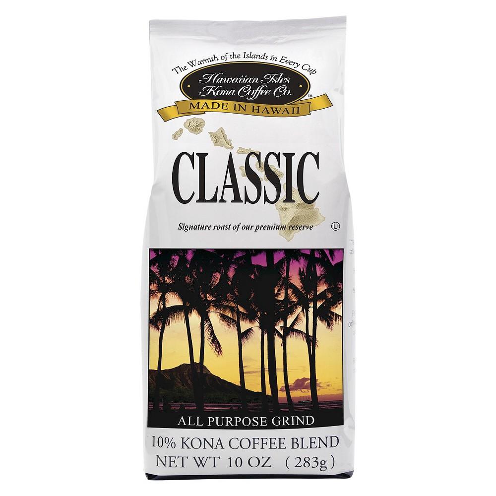 Hawaiian Isles Classic Kona Blend Medium Roast Ground Coffee - 10oz