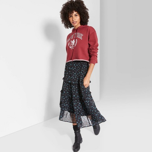 Women's Floral Print Tiered Midi A Line Skirt - Wild Fable™ Black - image 1 of 3