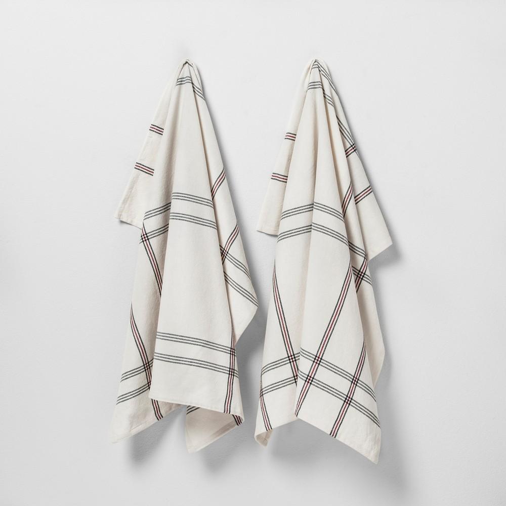 Kitchen Towel Set of 2 Black/White Plaid - Hearth & Hand with Magnolia