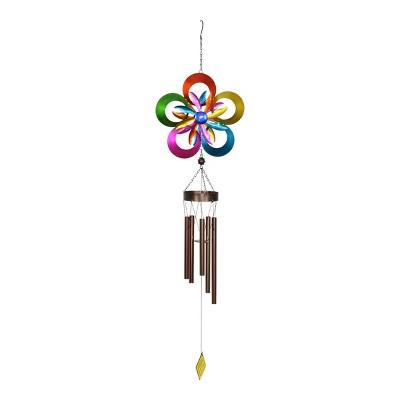 """44"""" Metal Double Rainbow Pinwheel Kinetic Spinner Wind Chime - Exhart"""