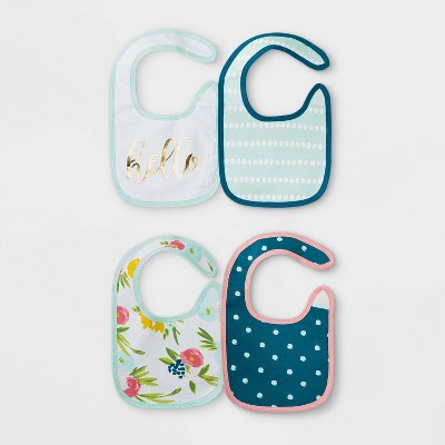 Baby Girls' 4pk Floral Fields Bib Set - Cloud Island™ Mint Green One Size