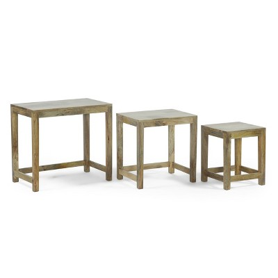 Set of 3 Trautman Rustic Handcrafted Mango Wood Nested Side Tables Natural - Christopher Knight Home