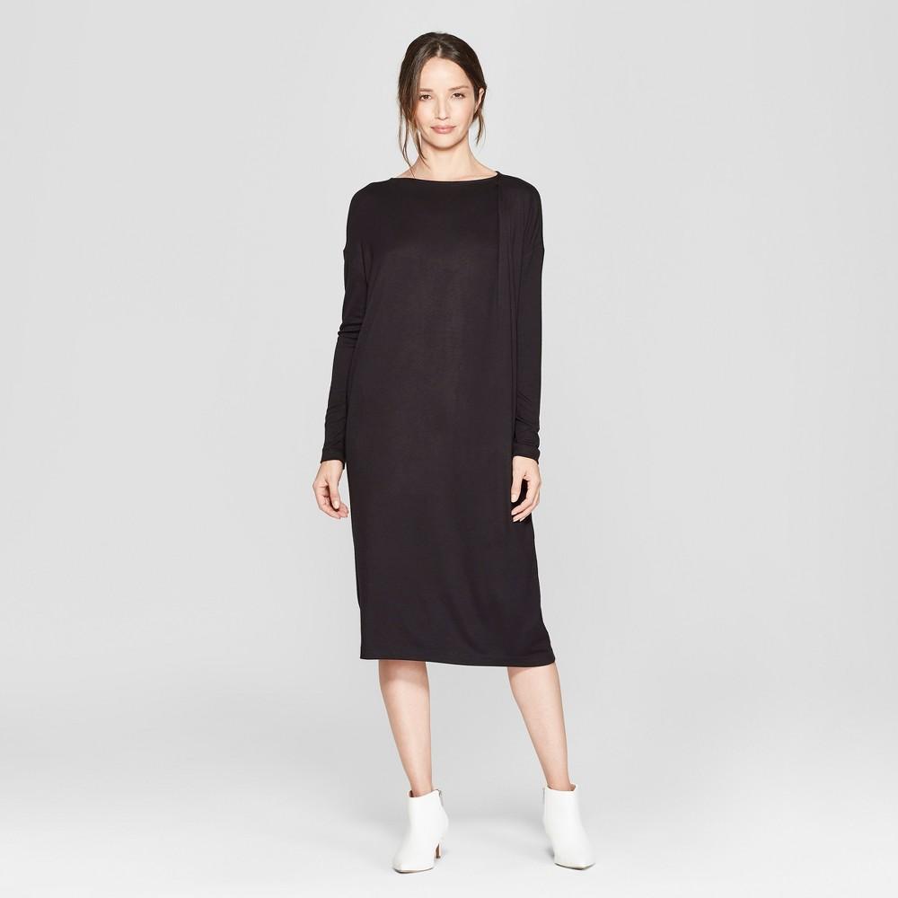 Women's Long Sleeve Deep Tuck Knit Dress - Prologue Black XS