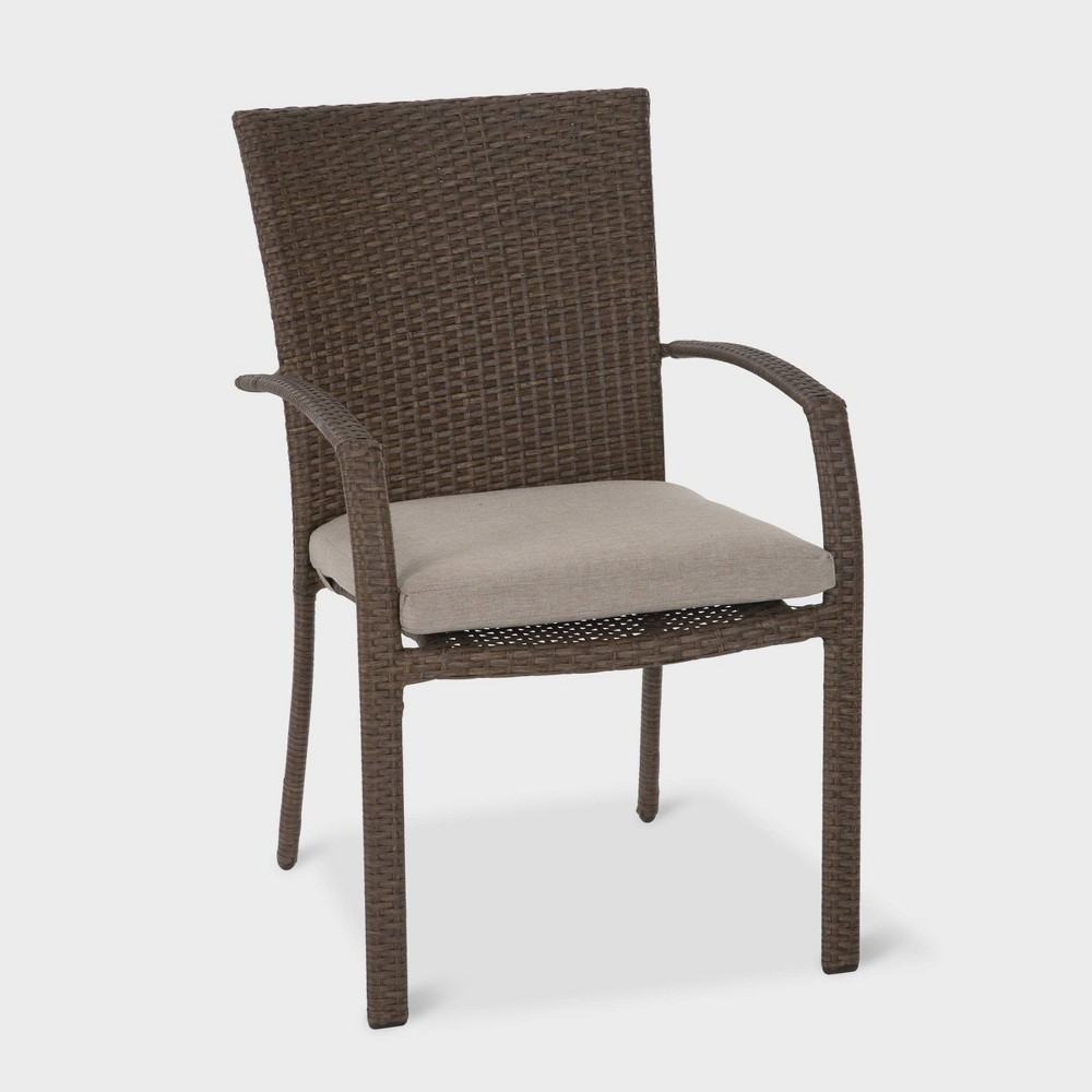 Lakewood Ranch 6pk Steel Woven Wicker Intellifit Patio Dining Chairs - Brown - Cosco, Brown & Tan