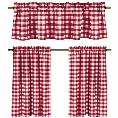 GoodGram Candy Apple Red & White Country Checkered Plaid Kitchen Tier Curtain Valance Set - 58 in. W x 36 in. L