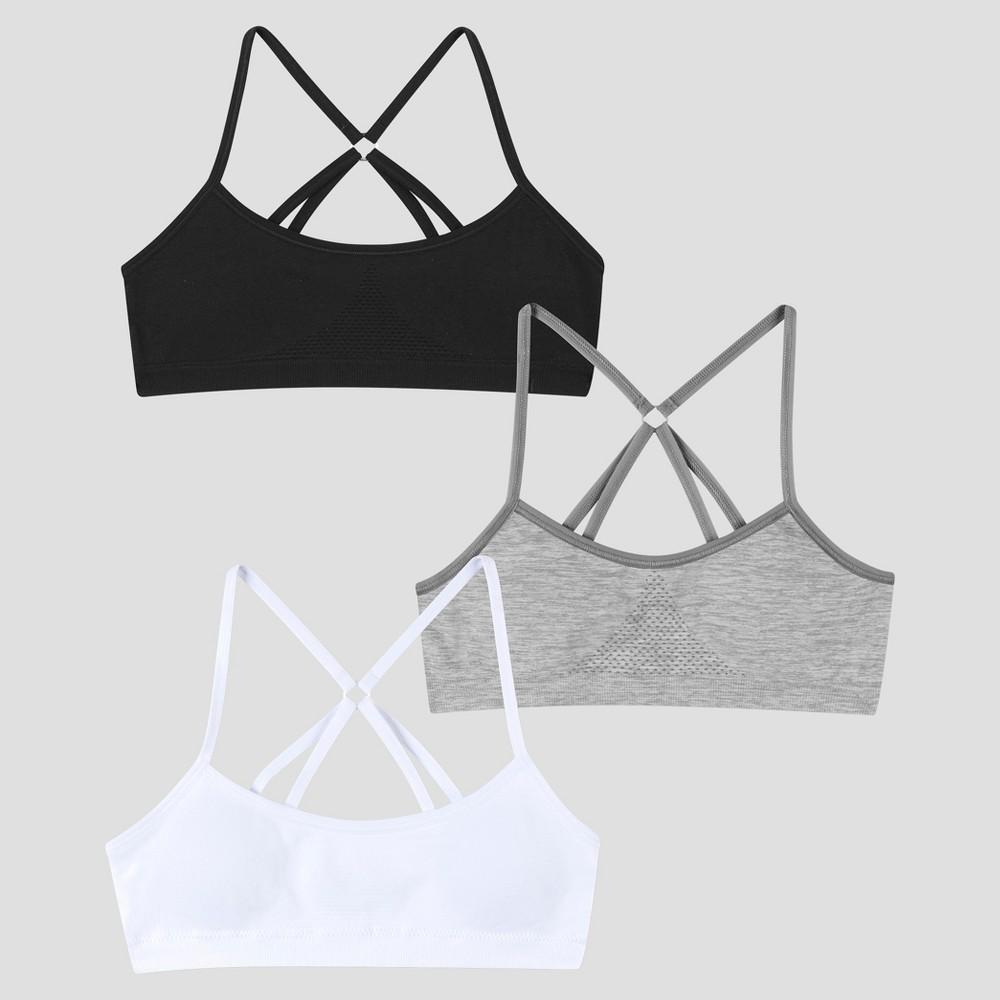 Hanes Girls' 2+1 Bonus Pack Bras - Violet Stripe/Gray/White XL, Multicolored