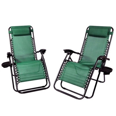 Zero Gravity Lounge Chair with Pillow and Cup Holder - Set of 2 - Forest Green - Sunnydaze Decor