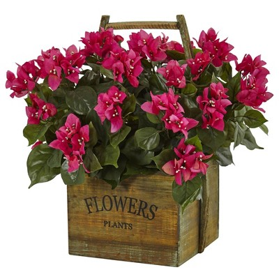 "20"" x 18"" Artificial Bougainvillea Flowering Plant in Rustic Wood Planter Pink -Nearly Natural"