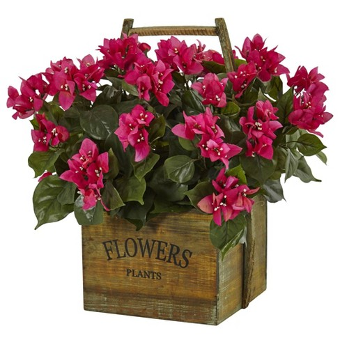 """20"""" x 18"""" Artificial Bougainvillea Flowering Plant in Rustic Wood Planter Pink/Green -Nearly Natural - image 1 of 1"""