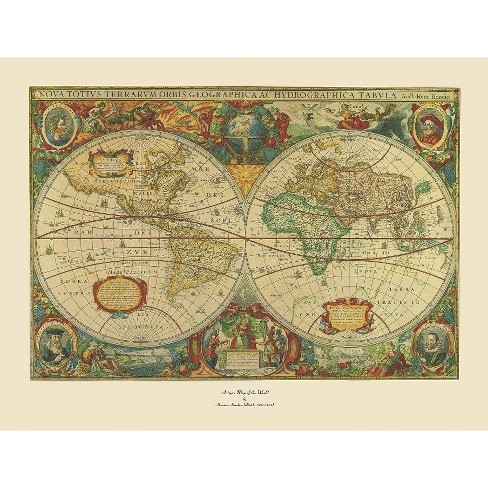 Old World Map Painting\' Ready to Hang Canvas Wall Art : Target