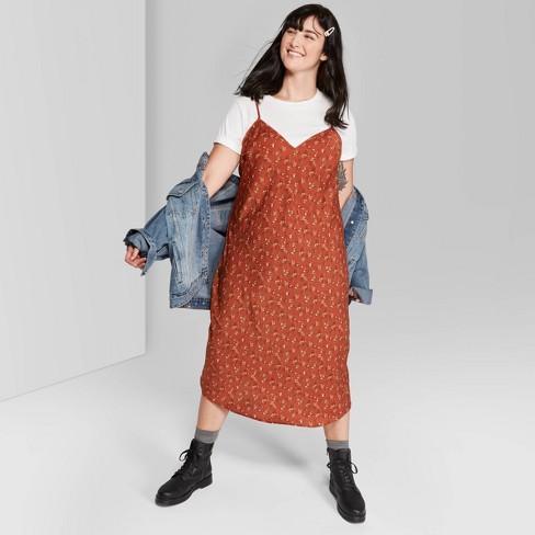 Women's Plus Size Floral Print Sleeveless V-Neck Midi Slip Dress - Wild Fable™ Rust - image 1 of 3
