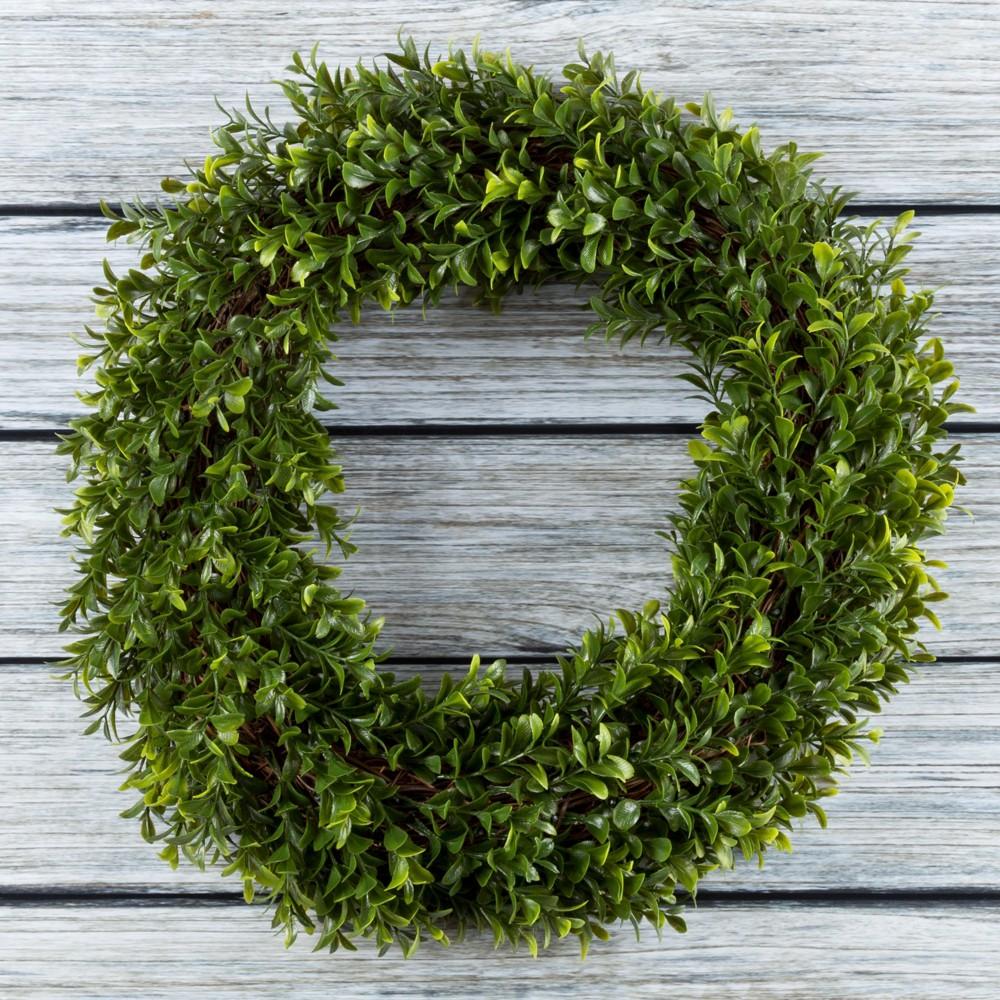 "Round Artificial Hedyotis Wreath 15"" - Pure Garden, Green"