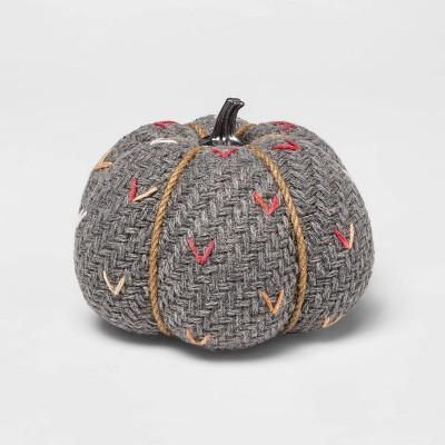 Medium Tweed with Stitch Fabric Harvest Pumpkin (with Gray Contrast Jute Base)- Spritz™