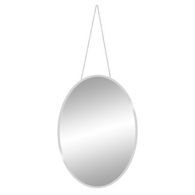 """17"""" x 24"""" Frameless Beveled Oval with Hanging Chain Decorative Wall Mirror Clear - Patton Wall Decor"""