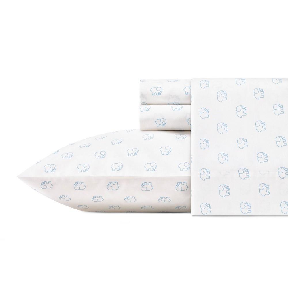 Image of Full 100% Cotton Elephant Print Sheet Set Blue - Ivory Ella