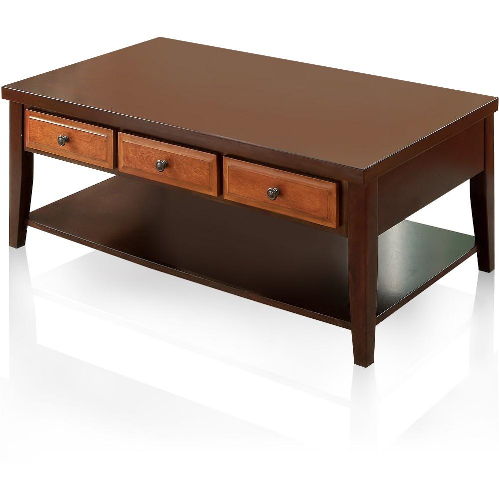 Sun & Pine Rita Two-Tone 3 Drawer Coffee Table Dark Oak/Dark Cherry, Redwood Brown