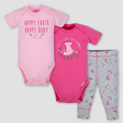 Gerber Baby Girls' 3pc Happy Earth Onesies Bodysuit and Pant Set - Pink/Heather Gray 0-3M