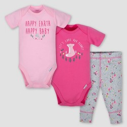 Gerber Baby Girls' 3pc Happy Earth Onesies Bodysuit and Pant Set - Pink/Heather Gray 3-6M