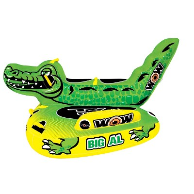 WOW Watersports Big Al Alligator 4 Person Towable Water Sport Lake Boating Saddle Seat Tube Raft, Green