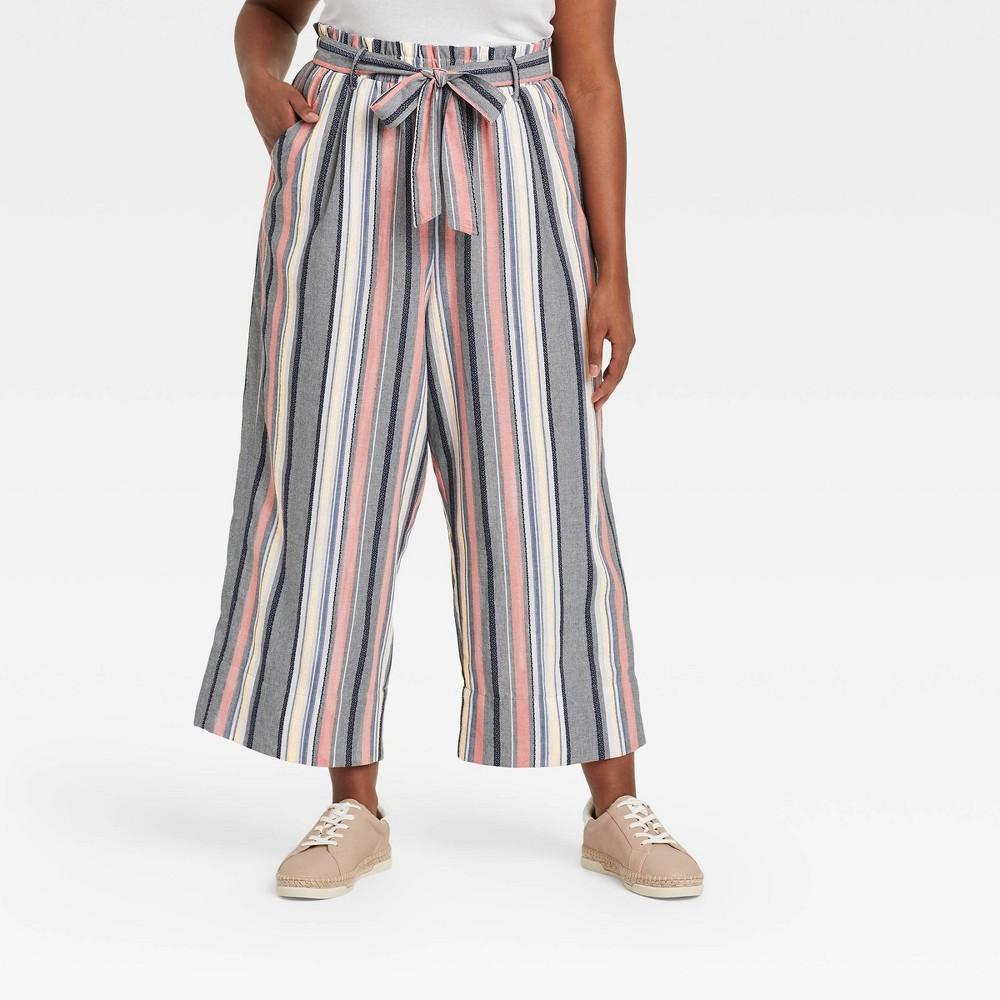 Women 39 S Plus Size Striped Mid Rise Linen Cropped Wide Leg Pants Knox Rose 8482 4x