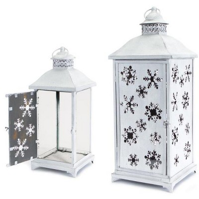Melrose Set of 2 Large White Cut-Out Snowflake All-Weather Iron and Glass Christmas Candle Lanterns