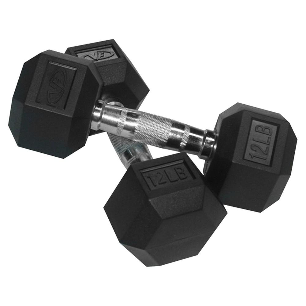 Valor Fitness RH-12 Rubber Hex Dumbbell Pair - 12lb, Black