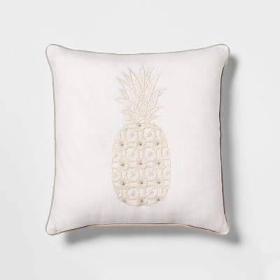 Embellished Pineapple Square Throw Pillow White - Threshold™
