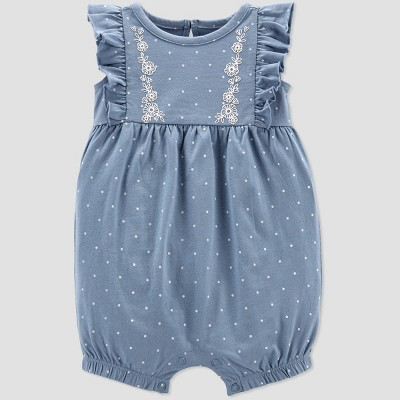Baby Girls' Dot Romper - Just One You® made by carter's Blue/White 6M