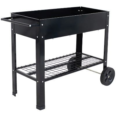 "43"" Raised Garden Bed Cart with Wheels - Black Galvanized Steel - Sunnydaze Decor"