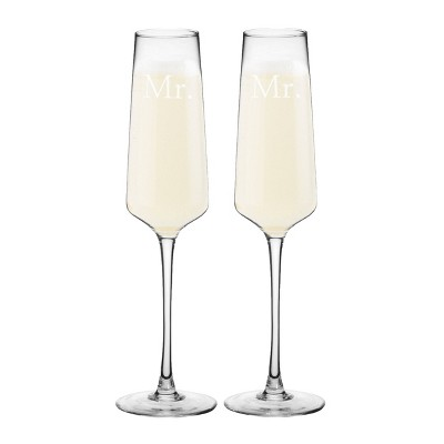 "9.5oz ""Mr. and Mr"" Wedding Champagne Estate Glasses"