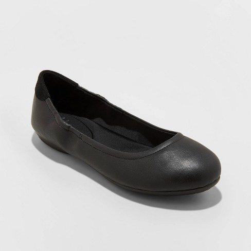 Women's Joslyn Faux Leather Total Ballet Flats - A New Day™ Black - image 1 of 3