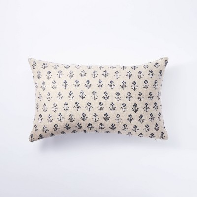 Lumbar Floral Block Print Pillow Neutral/Navy - Threshold™ designed with Studio McGee