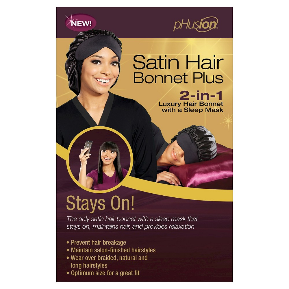 Image of pHusion Satin Hair Bonnet Plus 2-in-1 Black