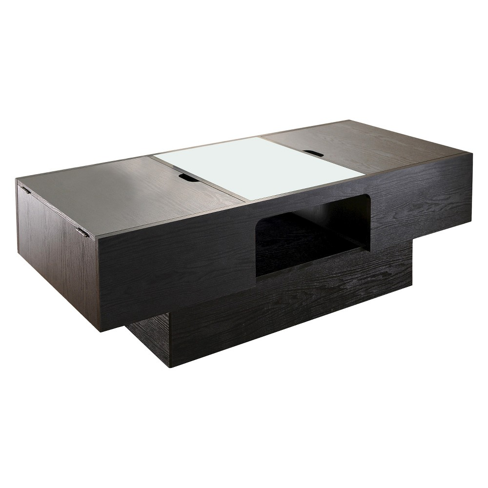 Kathline Modern Rectangular Coffee Table With Hidden Storage Black Homes Inside Out