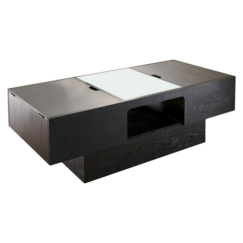 Kathline Modern Rectangular Coffee Table With Hidden Storage Black Iohomes