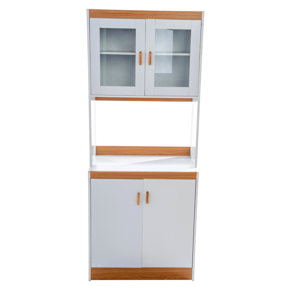 Traditional Microwave Cart - White/Oak - Home Source Industries, Brown