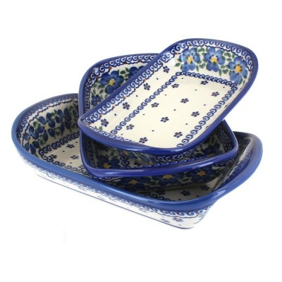 Blue Rose Polish Pottery Spring Blossom 3 Piece Rectangular Tray Set