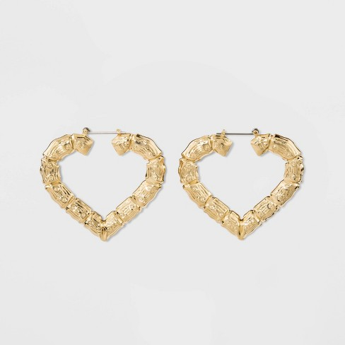 Textured Heart Hoop Earrings - Wild Fable™ Gold - image 1 of 4