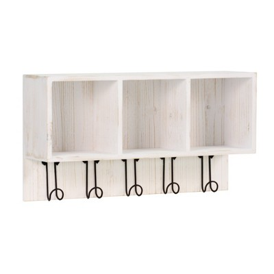 Entryway Large 3 Cubby Box With Hooks White - Threshold™